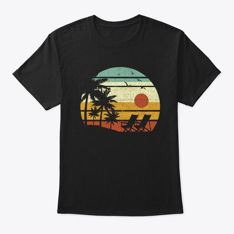 Vintage Beach Shirt Palm Trees Beach Black T-Shirt Front