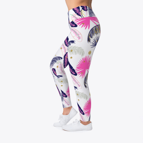 Pink Palm Pattern Leggings Light Yellow T-Shirt Left