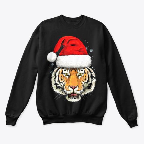Tiger Christmas Sweatshirt Gifts Black T-Shirt Front