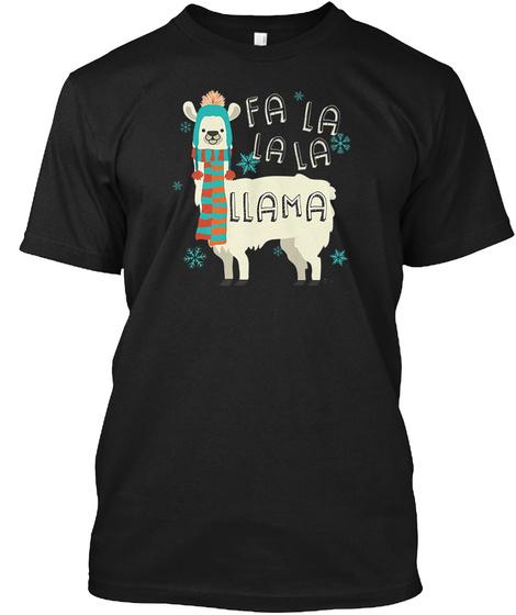 Fa La La La Llama Black T-Shirt Front