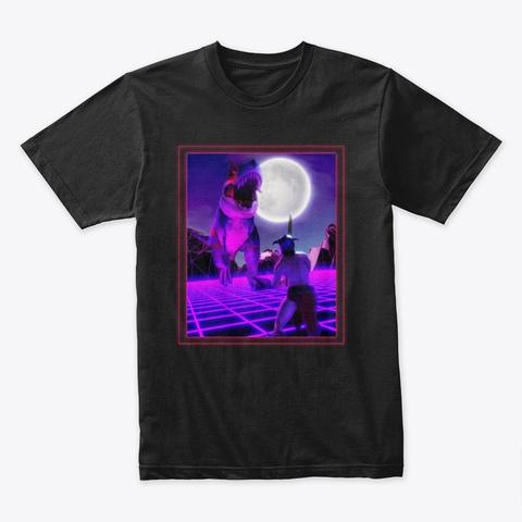 T Rex Battling Barbarian  Black T-Shirt Front