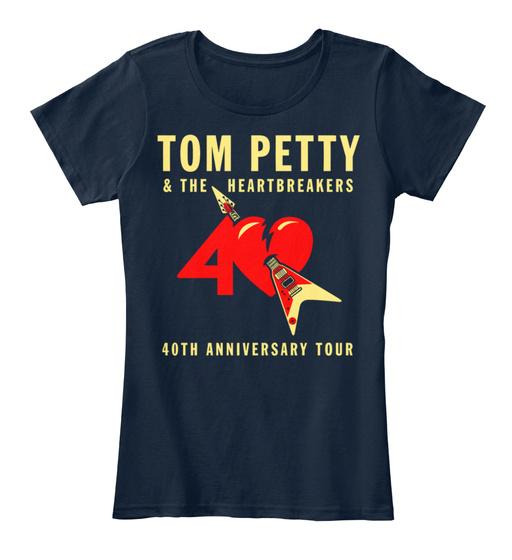 40th anniversary tom petty the heartbreakers women 39 s premium tee t shirt ebay. Black Bedroom Furniture Sets. Home Design Ideas