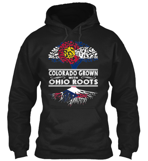 Ohio Colorado   Grown Roots Black T-Shirt Front