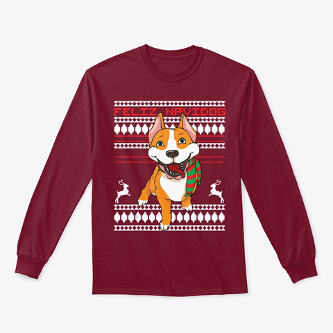 Feliz Navidog Pitbull Santa Dog Pittie Cardinal Red T-Shirt Front