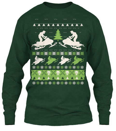 Snowmobile Ugly Christmas Forest Green T-Shirt Front