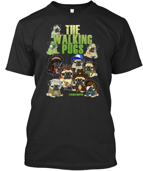 The Walking Pugs Black T-Shirt Front
