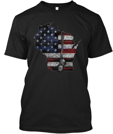 Wisconsin Honors Veterans Black T-Shirt Front