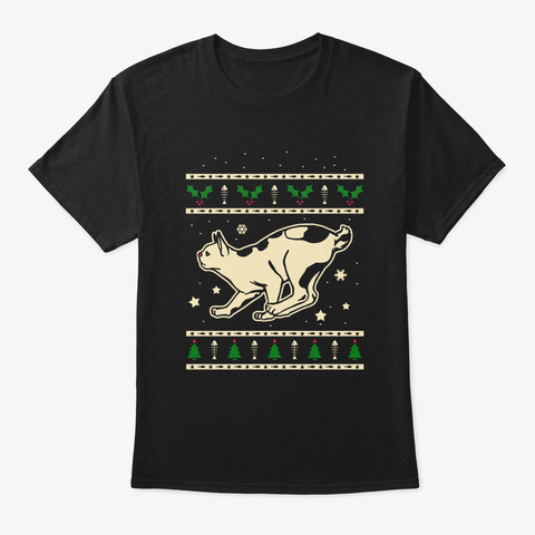 Christmas Japanese Bobtail Gift Black T-Shirt Front