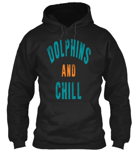 Dolphins And Chill Black T-Shirt Front