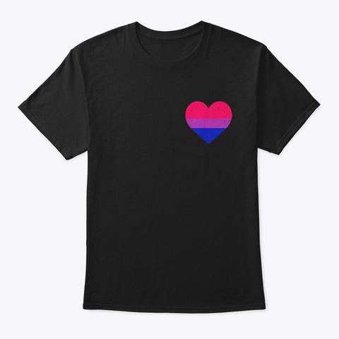 Pocket Heart Funny Lgbt Bisexual Color Black T-Shirt Front