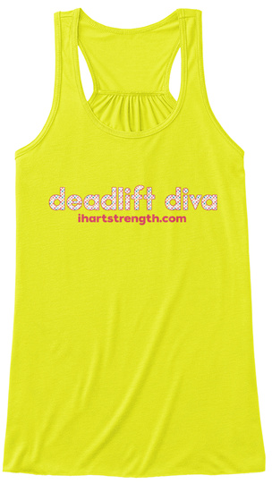 Deadlift Diva   Dots Neon Yellow T-Shirt Front