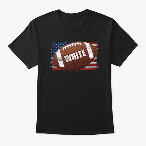 American Football Theme White Black T-Shirt Front