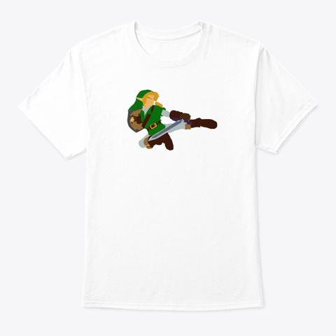 Zelda/Smash Melee   Minimalistic Link White T-Shirt Front
