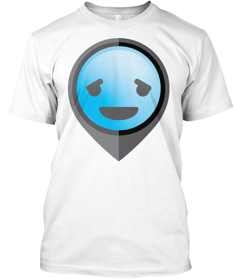 Pointer Emoji Pleasantly Happy Face White T-Shirt Front