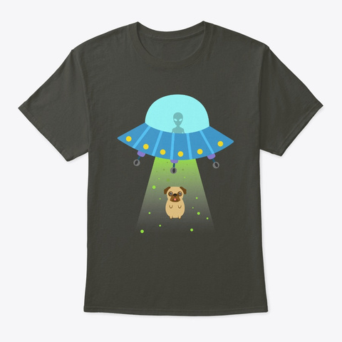 Pug Abduction Aliens Ufo Conspiracy  Smoke Gray T-Shirt Front