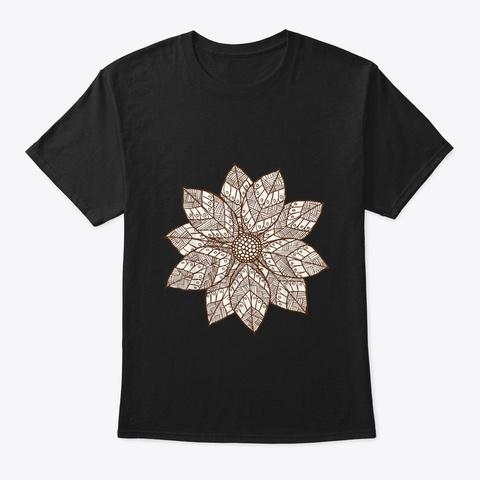 Brown White Mandala Flower Black T-Shirt Front