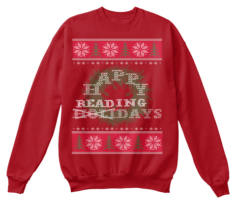 Happy Reading Holidays Deep Red  T-Shirt Front