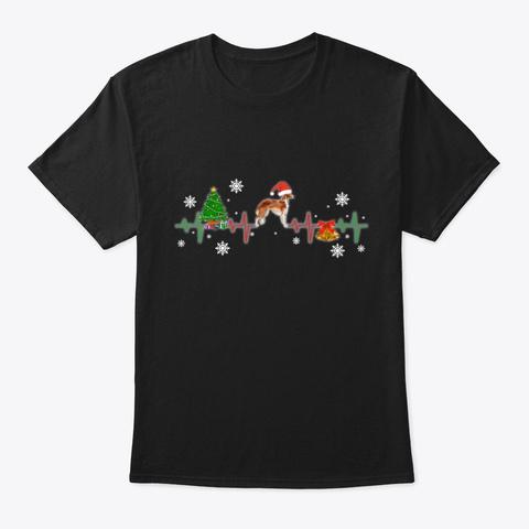 Borzoi Christmas Heartbeat Gift Black T-Shirt Front