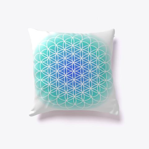 Flower Of Life Blue, Sacred Geometry White T-Shirt Front