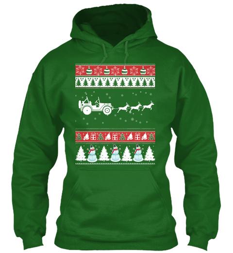 Jeep Ugly Christmas Sweater Irish Green T-Shirt Front