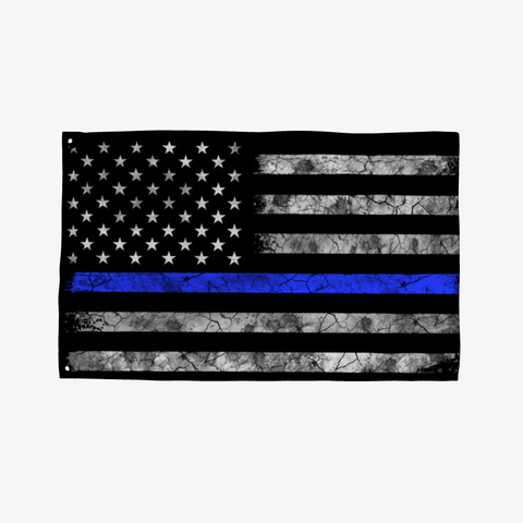 Thin B Lue Line Flag Black T-Shirt Front