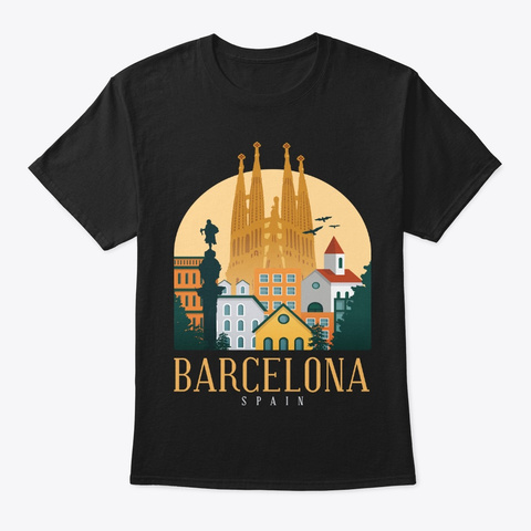 Spain Skyline Barcelona Souvenir Gifts Black T-Shirt Front