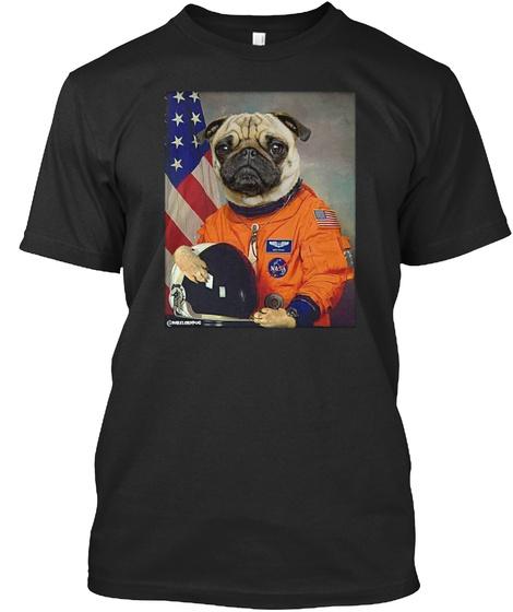 Astronaut Pug Black T-Shirt Front