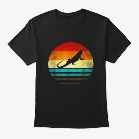Retro Vintage Bearded Dragon Silhouette Black T-Shirt Front