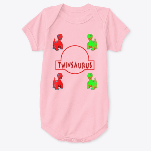 Twinsaurus Twin Baby   Twins Pink T-Shirt Front