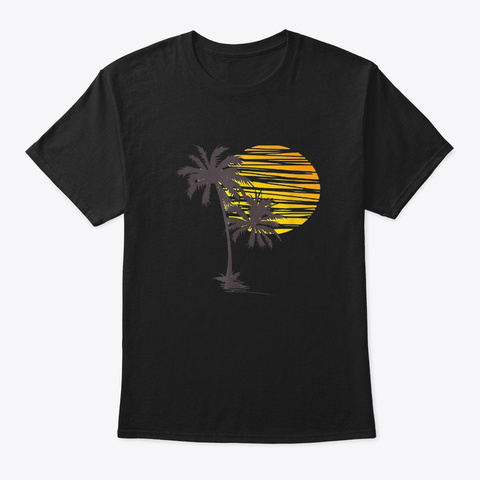 Sunset Beach Palm Tree Summer Vacation  Black T-Shirt Front
