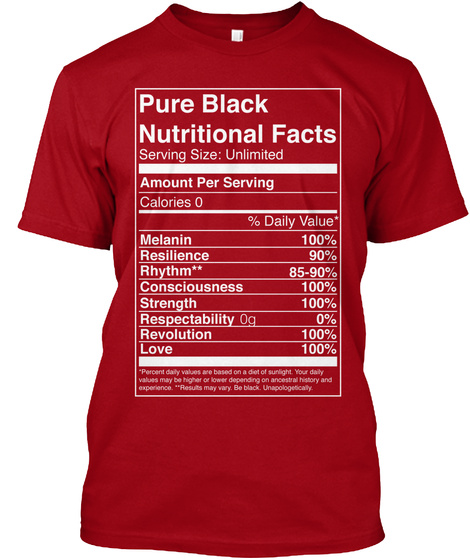 Pure Black Nutritional Facts Serving Size Unlimited Amount Per Serving Calories 0 Melanin Resillience Rhythm... Deep Red T-Shirt Front