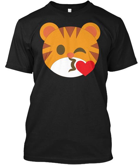 Tiger Emoji Flirting And Blowing Kiss Black T-Shirt Front