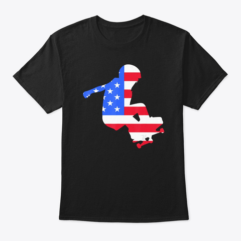 Funny Skating American Patriot Day Flag Black T-Shirt Front