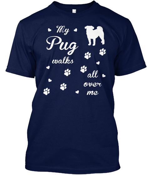 Pug Navy T-Shirt Front