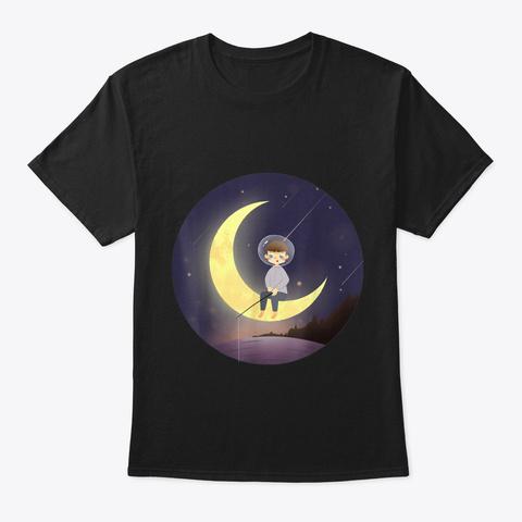 Little Boy On Moon Zen Night Meditation  Black T-Shirt Front