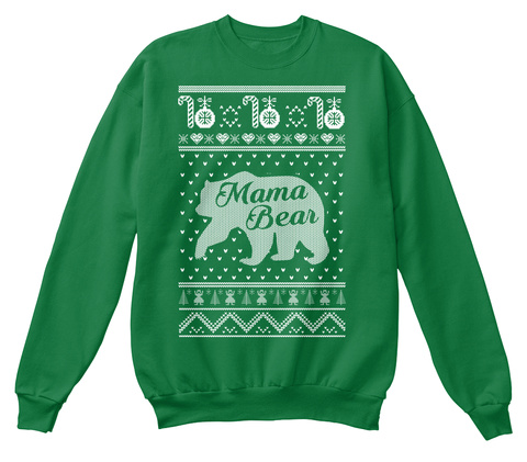 Christmas Sweater: Mama Bear Kelly Green  T-Shirt Front