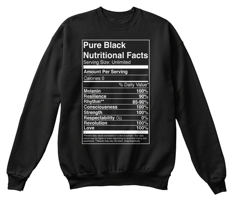 Pure Black Nutritional Facts Serving Size Unlimited Amount Per Serving Cakories 0 % Daily Value Mealanin 100%... Black Sweatshirt Front