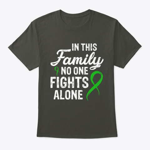 No One Fights Alone Adrenal Cancer T Smoke Gray T-Shirt Front