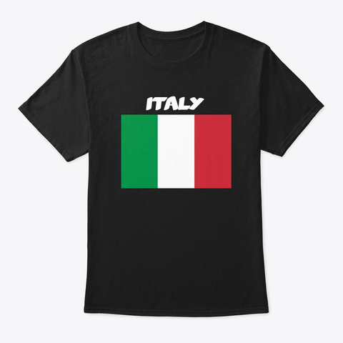 Italy Flag Black T-Shirt Front