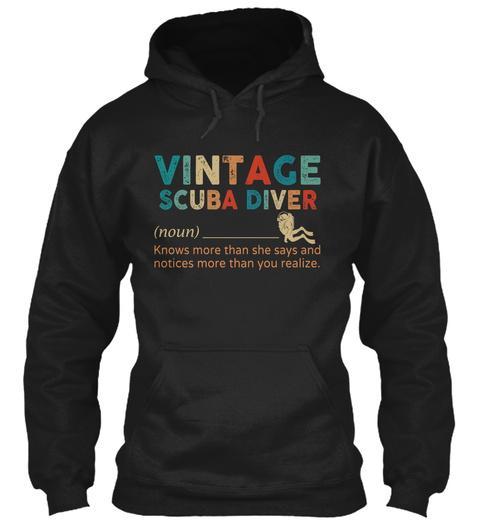 Vintage Scuba Diver Black T-Shirt Front