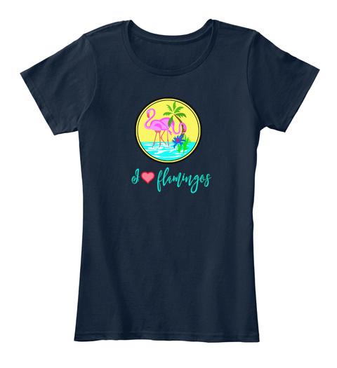 I Love Flamingos New Navy T-Shirt Front