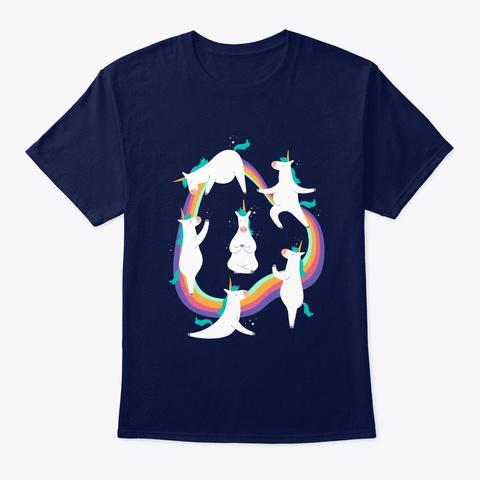 Unicorn Yoga Design Navy T-Shirt Front