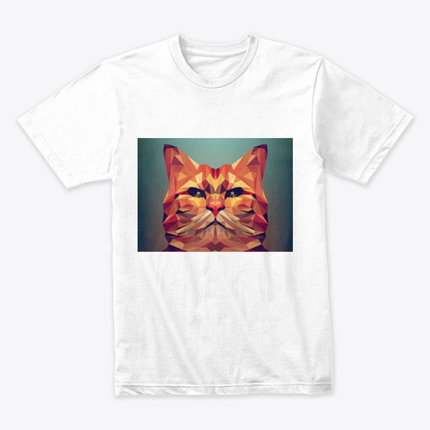 Angry Cat Art White T-Shirt Front