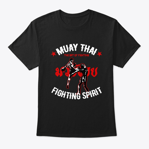 Muay Thai Art Of Fighting Kickboxing Ret Black T-Shirt Front