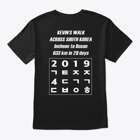 Kevin's Walk 2019 Tees Black T-Shirt Back