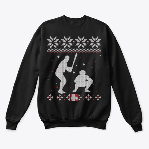 Baseball Lover Ugly Christmas Sweater Black T-Shirt Front