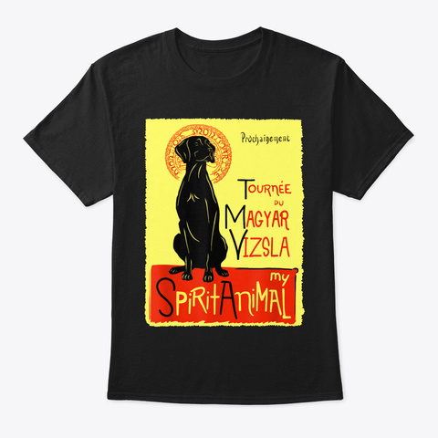 Cute Magyar Vizsla Dog Art Hungarian Poi Black T-Shirt Front