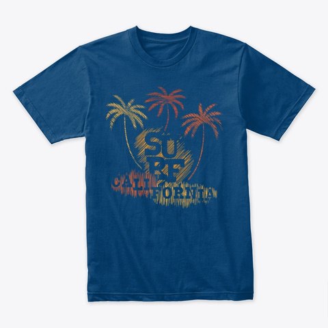Surf California Palm Trees Cool Blue T-Shirt Front