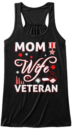 Mom Wife Veteran Black Women's Tank Top Front