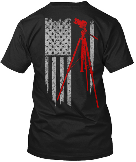 Photography   Usa Flag Black T-Shirt Back